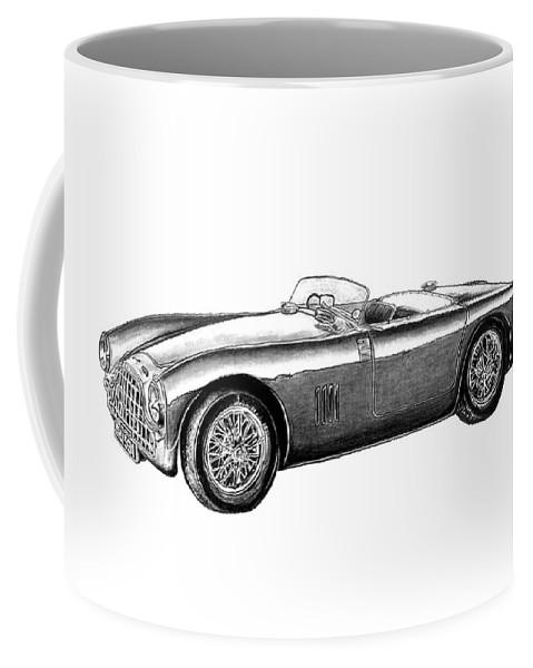 Aston Martin Db5 Coffee Mug featuring the drawing Aston Martin Db-5 by Peter Piatt