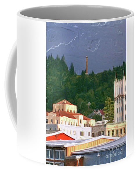 Astoria Oregon Coffee Mug featuring the painting Astoria Oregon by Methune Hively