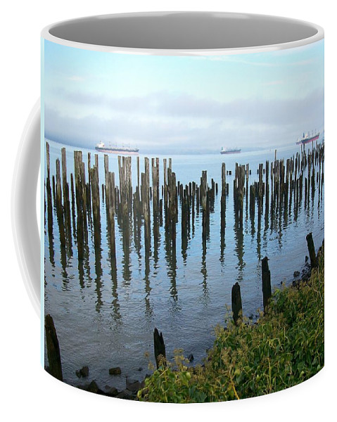 Nature Coffee Mug featuring the photograph Astoria Ships by Quin Sweetman
