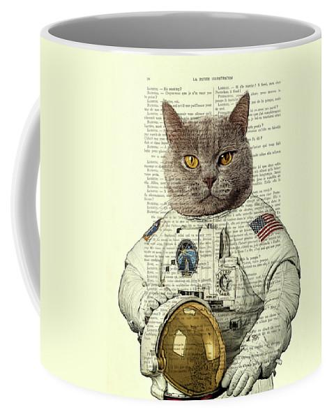 Astronaut Coffee Mug featuring the digital art Astronaut Cat Illustration by Madame Memento