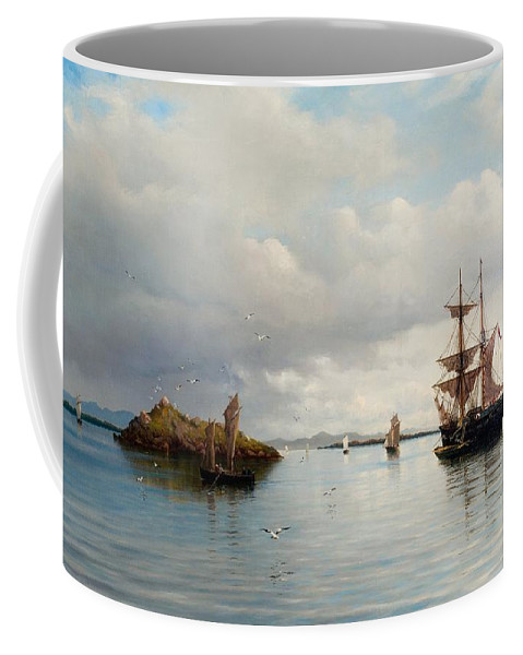 Oscar Kleineh Coffee Mug featuring the painting At Anchor by MotionAge Designs