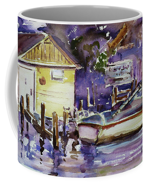 Boathouse Coffee Mug featuring the painting At Boat House 3 by Xueling Zou