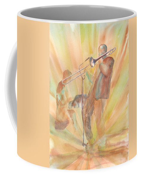 Watercolor Coffee Mug featuring the painting At One With The Music by Debbie Lewis