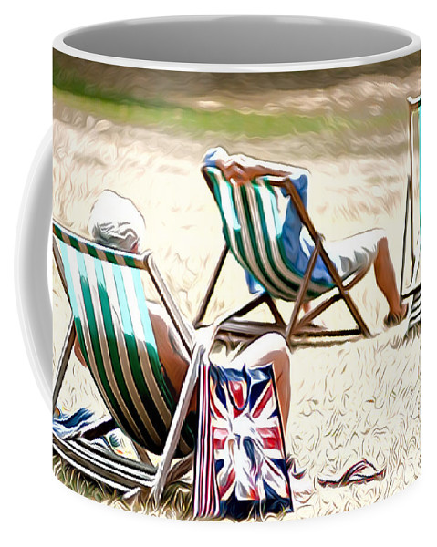 At St James Park London England English British View Scenic Deck Chairs Deck Chairs Coffee Mug featuring the photograph At St James Park by Andrew Michael