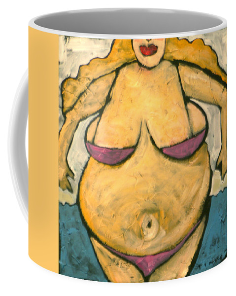 Woman Coffee Mug featuring the painting At The Beach by Tim Nyberg