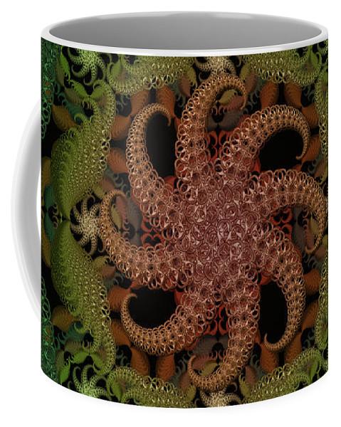 Ring Pulls Coffee Mug featuring the digital art At The Bottom Of The Sea Coral by Deborah Runham