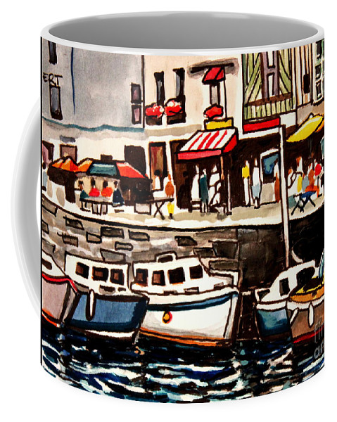 Cafe Coffee Mug featuring the painting At The Cafe by Elizabeth Robinette Tyndall