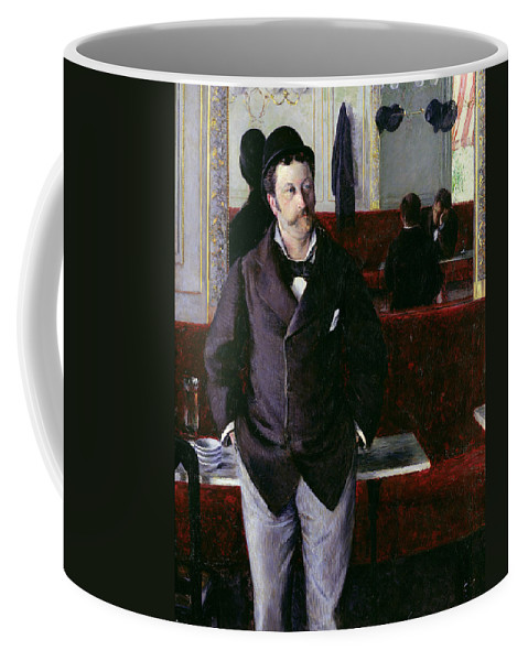 At The Cafe Coffee Mug featuring the painting At The Cafe Rouen by Gustave Caillebotte