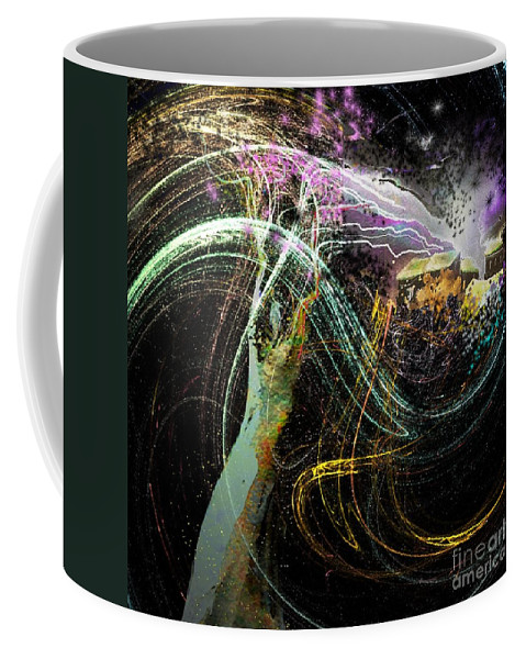 Fantasy Coffee Mug featuring the painting At The End Of The Cosmos by Miki De Goodaboom