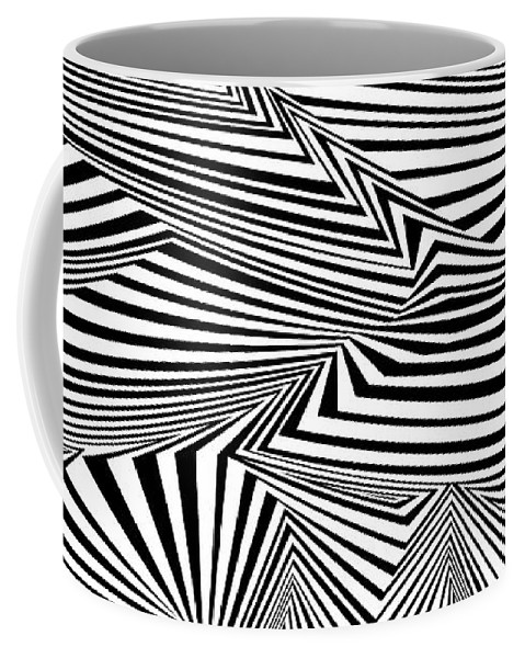 Dynamic Black And White Coffee Mug featuring the painting At The End Of The Knot by Douglas Christian Larsen