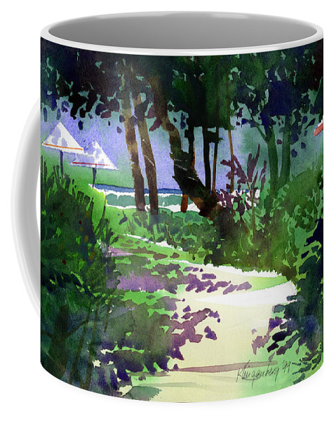 Beach Path Coffee Mug featuring the painting At The Hale Koa by Lee Klingenberg