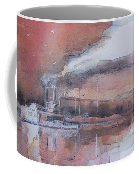 Steamboat Coffee Mug featuring the painting At The Landing by Robert Yonke
