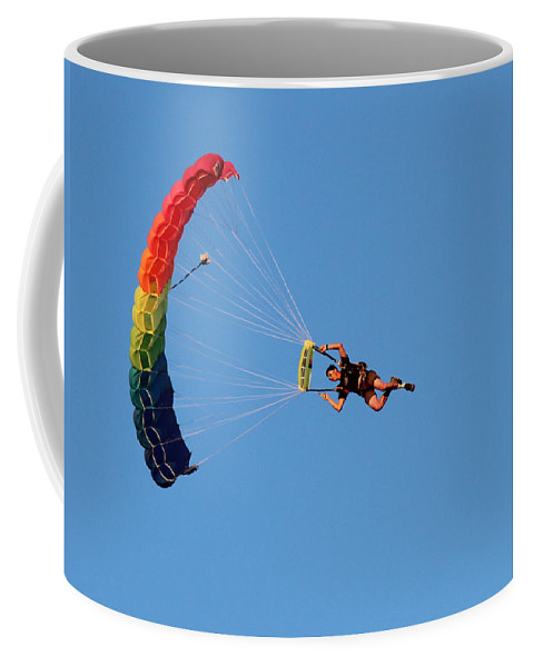 Parachute Coffee Mug featuring the photograph At The Mercy Of The Wind by Lorraine Baum