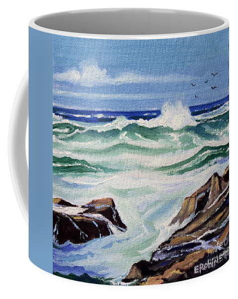 Ocean Coffee Mug featuring the painting At The Ocean by Elizabeth Robinette Tyndall