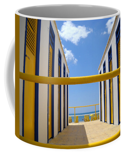 Blue Coffee Mug featuring the photograph At The Seashore 1 by Tom Reynen