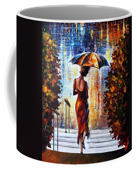 Afremov Coffee Mug featuring the painting At The Steps by Leonid Afremov