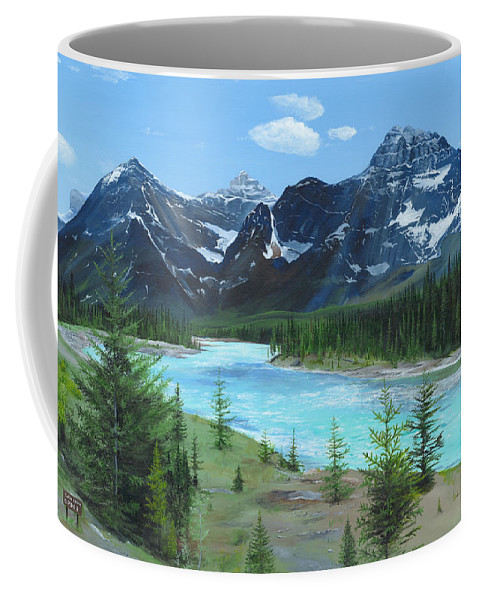 Athabasca River;canadian Rockies;rocky Mountains;jasper Coffee Mug featuring the painting Athabasca River by Glen Frear