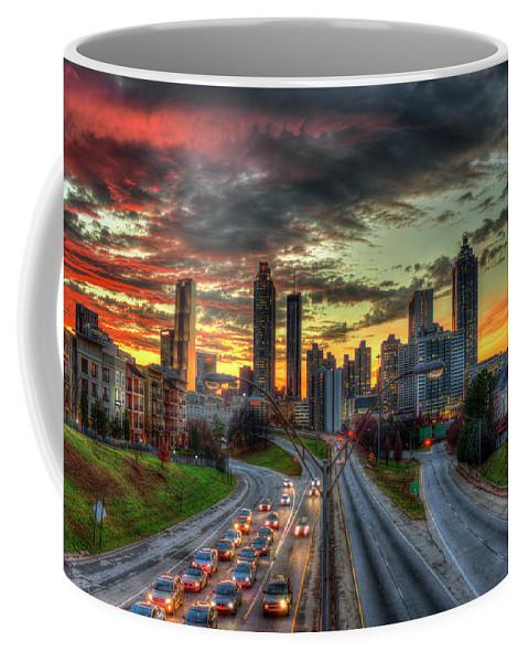 Reid Callaway Atlanta Nite Lights Coffee Mug featuring the photograph Atlanta Nite Lights Atlanta Downtown Cityscape Art by Reid Callaway