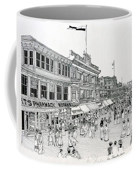 America 1900 Coffee Mug featuring the drawing Atlantic City Boardwalk 1900 by Ira Shander