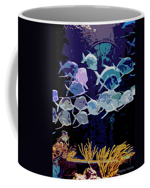 Bahamas Coffee Mug featuring the digital art Atlantis Aquarium by DigiArt Diaries by Vicky B Fuller