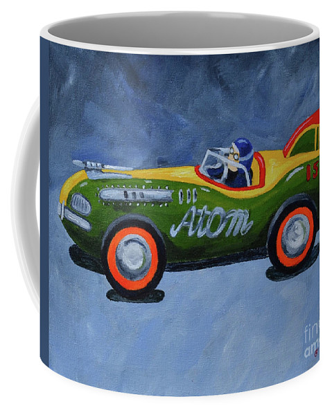 Old Toys Kids Toys Coffee Mug featuring the painting Atom Racer by Herschel Fall