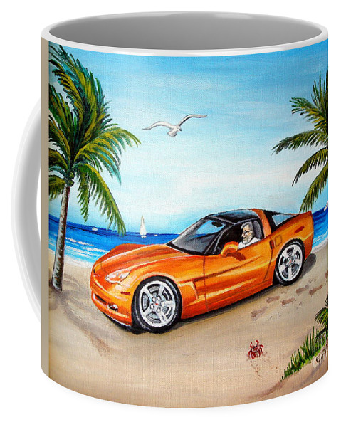 Oil Coffee Mug featuring the painting Atomic Orange by Elizabeth Robinette Tyndall