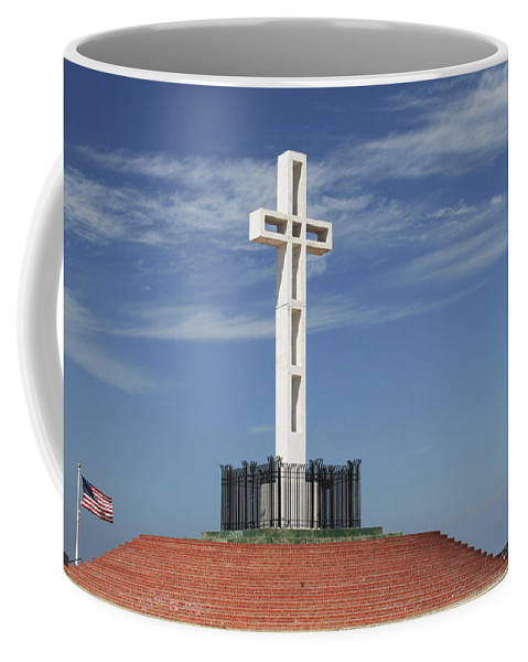 Mt Soledad Coffee Mug featuring the photograph Atop Mt Soledad by Margie Wildblood