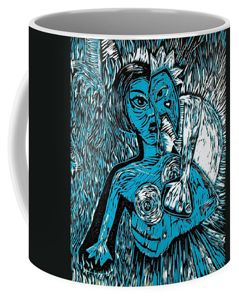 Clay Coffee Mug featuring the painting Attached by Thomas Valentine