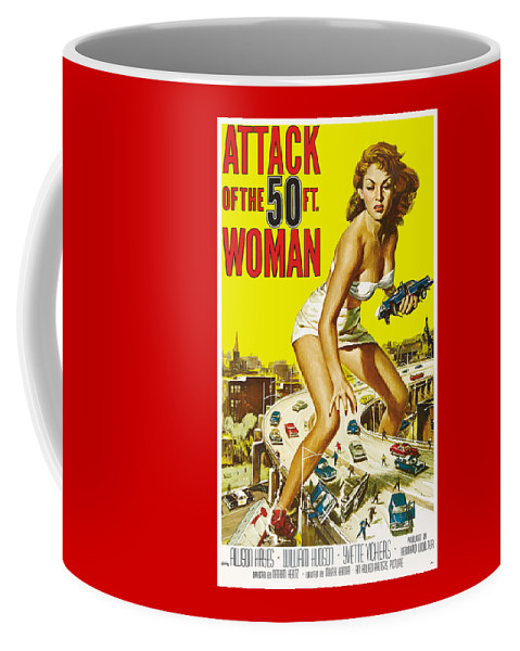 Vintage Coffee Mug featuring the digital art Attack Of The 50 Ft. Woman Poster by Joy McKenzie