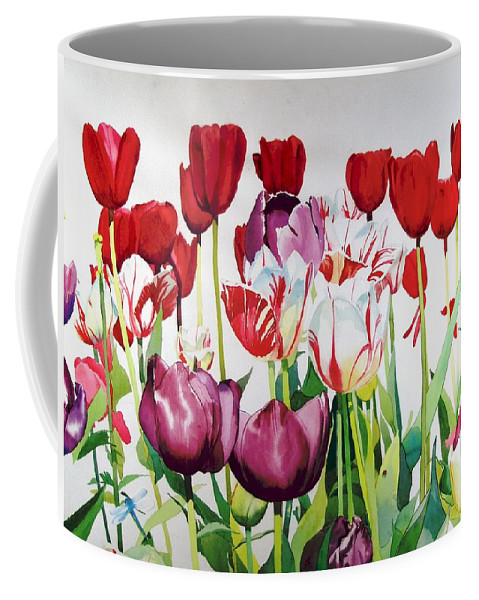 Tulips Coffee Mug featuring the painting Attention by Elizabeth Carr