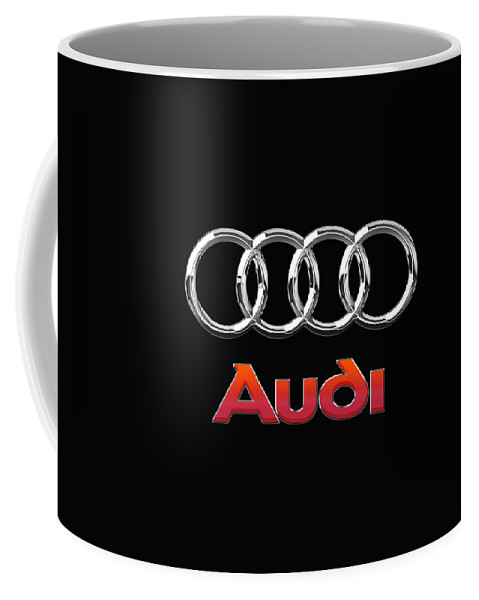 'wheels Of Fortune' Collection By Serge Averbukh Coffee Mug featuring the photograph Audi 3 D Badge on Black by Serge Averbukh