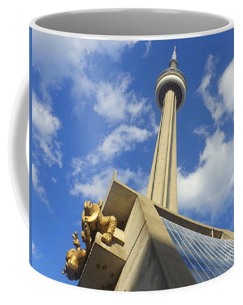 Representation Coffee Mug featuring the photograph Audience Sculpture And The Cn Tower by Lingfai Leung