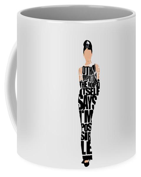 Audrey Hepburn Coffee Mug featuring the digital art Audrey Hepburn Typography Poster by Inspirowl Design