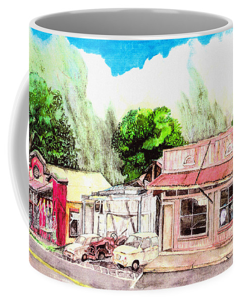Historic Coffee Mug featuring the painting Auggies Pool Hall by Eric Samuelson