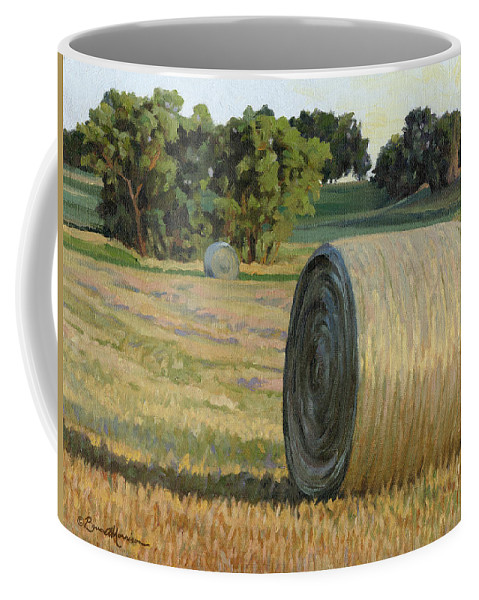 Landscape Coffee Mug featuring the painting August Bales by Bruce Morrison