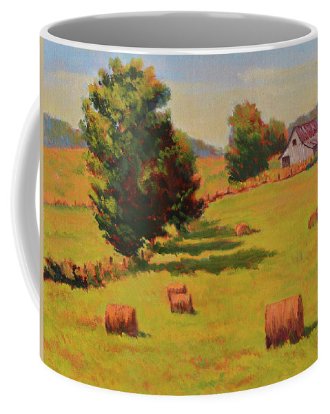 Impressionism Coffee Mug featuring the painting August Hay Field by Keith Burgess