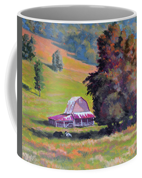 Impressionism Coffee Mug featuring the painting August Pastures by Keith Burgess