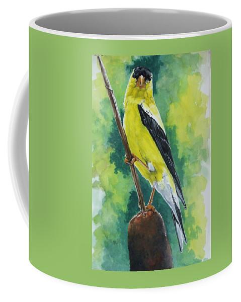 Common Bird Coffee Mug featuring the painting Aureate by Barbara Keith
