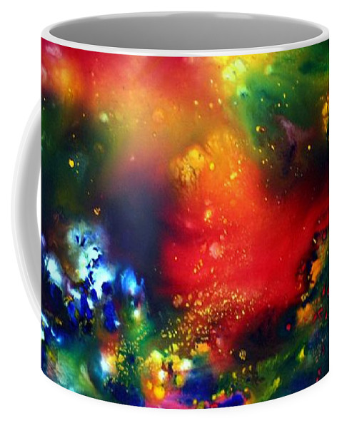 Abstract Coffee Mug featuring the painting Aurora Borealis by Luiza Vizoli