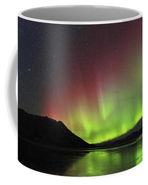 Atmospheric Mood Coffee Mug featuring the photograph Aurora Borealis Milky Way And Big by Joseph Bradley