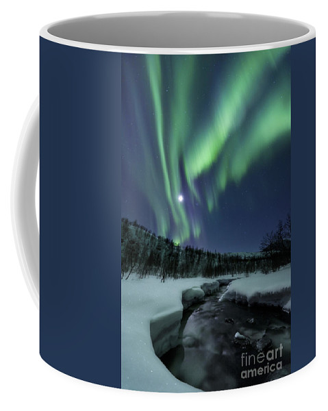 Aurora Borealis Coffee Mug featuring the photograph Aurora Borealis Over Blafjellelva River by Arild Heitmann