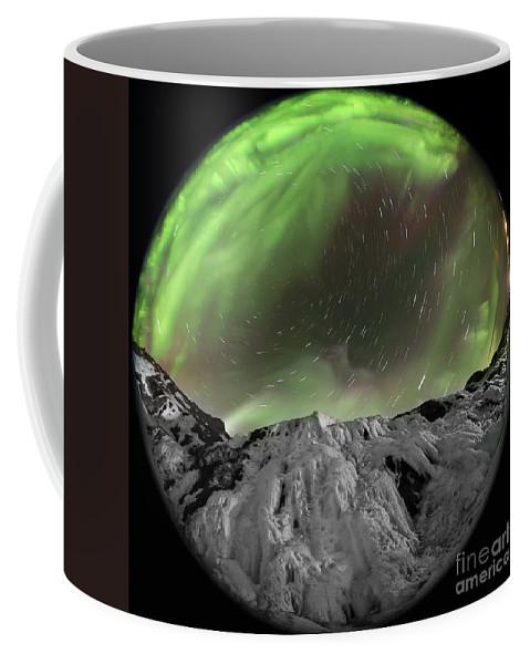 Fisheye Image Coffee Mug featuring the photograph Aurora Borealis Over Iceland, Fisheye by Babak Tafreshi