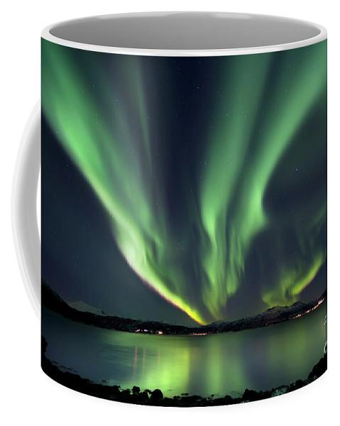 Aurora Borealis Coffee Mug featuring the photograph Aurora Borealis Over Tjeldsundet by Arild Heitmann