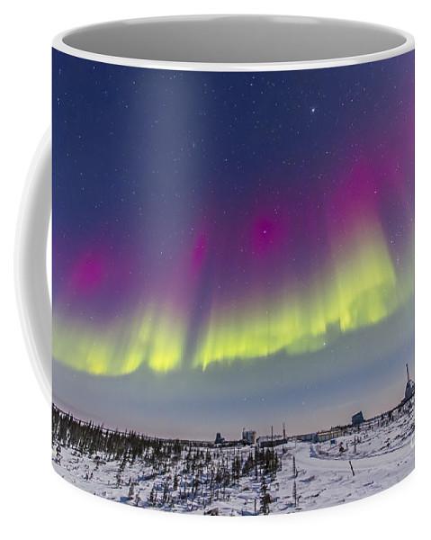Aurora Coffee Mug featuring the photograph Aurora Borealis Seen From Churchill by Alan Dyer