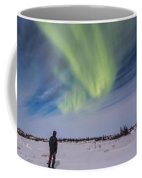 Aurora Coffee Mug featuring the photograph Aurora Borealis Under Bright Moonlight by Alan Dyer