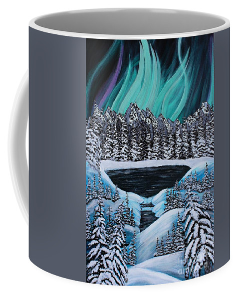 Barbara Griffin Coffee Mug featuring the painting Aurora's Fiery Display by Barbara Griffin