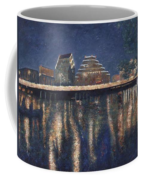 Austin Texas Cityscape Coffee Mug featuring the painting Austin at Night by Felipe Adan Lerma