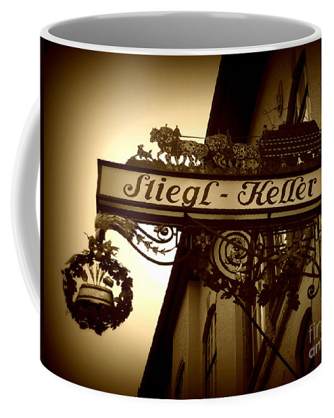 Sign Coffee Mug featuring the photograph Austrian Beer Cellar Sign by Carol Groenen