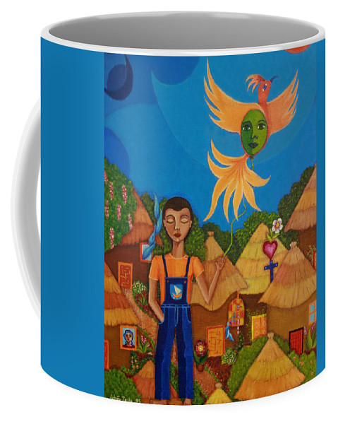 Autism Coffee Mug featuring the painting Autism - A Flight To... by Madalena Lobao-Tello
