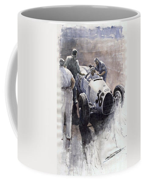 Auto Coffee Mug featuring the painting Auto Union B Type 1935 Italian Gp Monza B Rosermeyer by Yuriy Shevchuk
